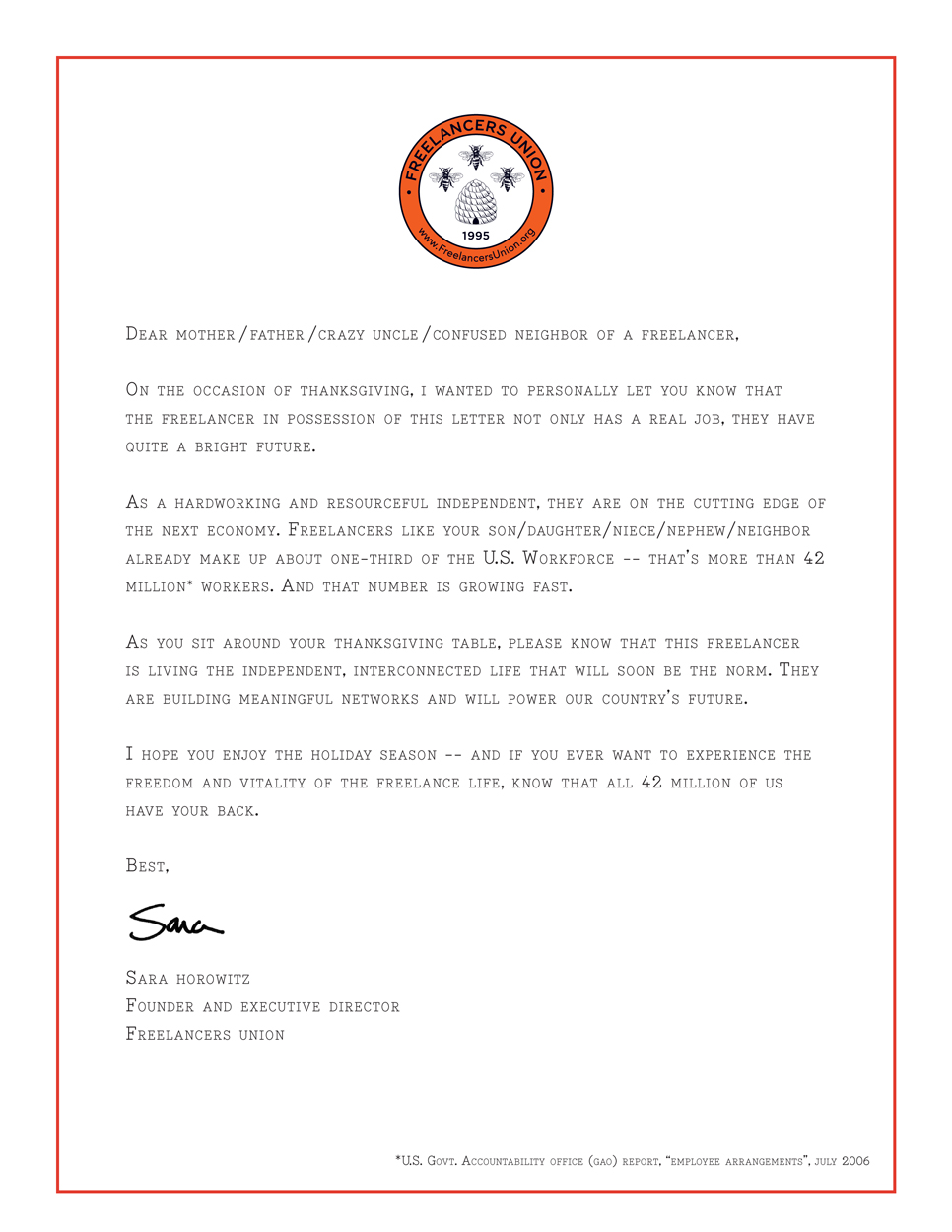 A freelancers letter of reference join the union its free spiritdancerdesigns Choice Image
